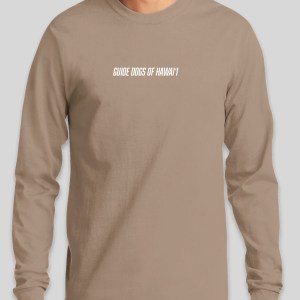 Stock image of tan long sleeve t-shirt. (front)