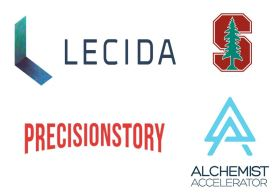 Lecida Stanford PrecisionStory and Alchemist Accelerator logos