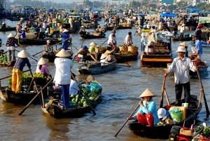 Marche flotttant du delta du Mekong