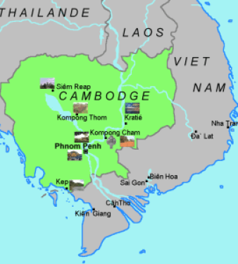 Carte du pays cambodge