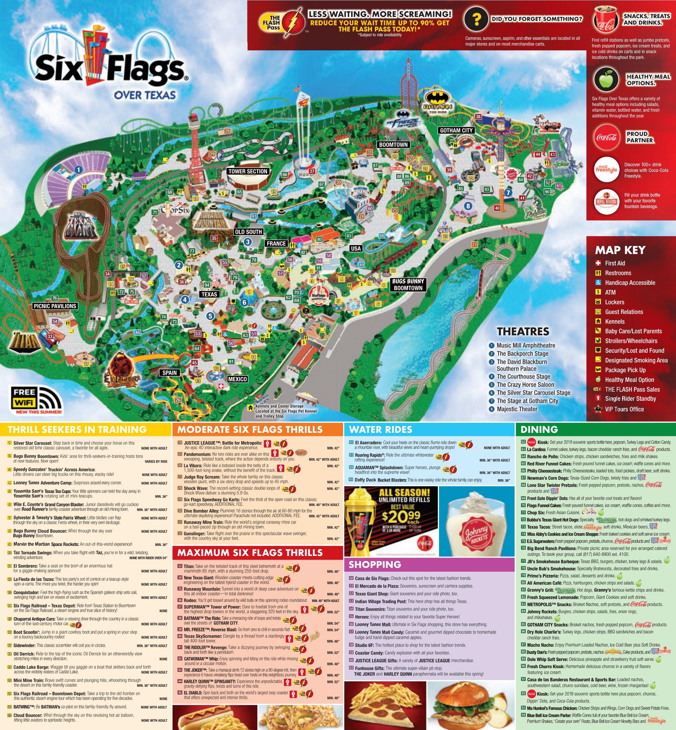 Six Flags Map Texas Six Flags Over Texas Park Map   Six Flags Over Texas Park Map