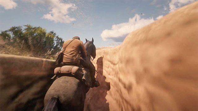 Достигнув места, представленного на рисунке 1 (конец долины), начните галопировать и садитесь на скалы - Как добраться до Мексики в RDR2?  - FAQ - Red Dead Redemption 2 Guide