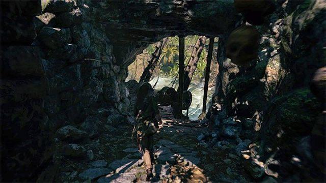 Зеленый контейнер работает как противовес, но, поскольку он проколот, вы должны спешить со следующим шагом - Как решить загадку моста в Shadow of the Tomb Raider Game? - Рединг загадок - Тень игры в гробницу