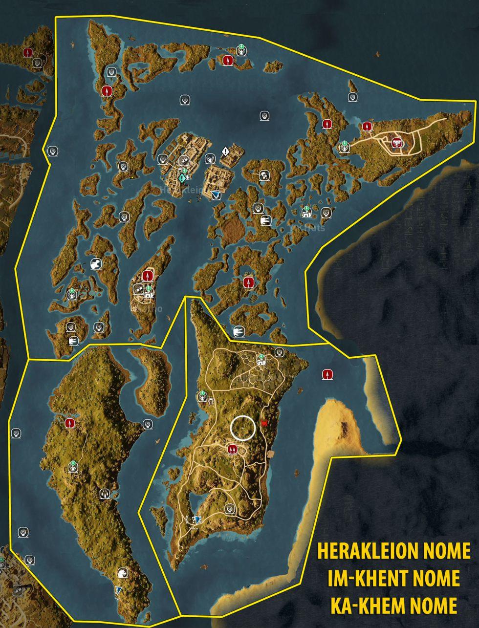 Assassin's Creed Origins Stone Circles Map : assassin's, creed, origins, stone, circles, Herakleion, Nome,, In-Khent, Ka-Khem, Tombs,, Papyrus, Puzzles, Secrets, Assassin's, Creed, Origins, Guide, Gamepressure.com