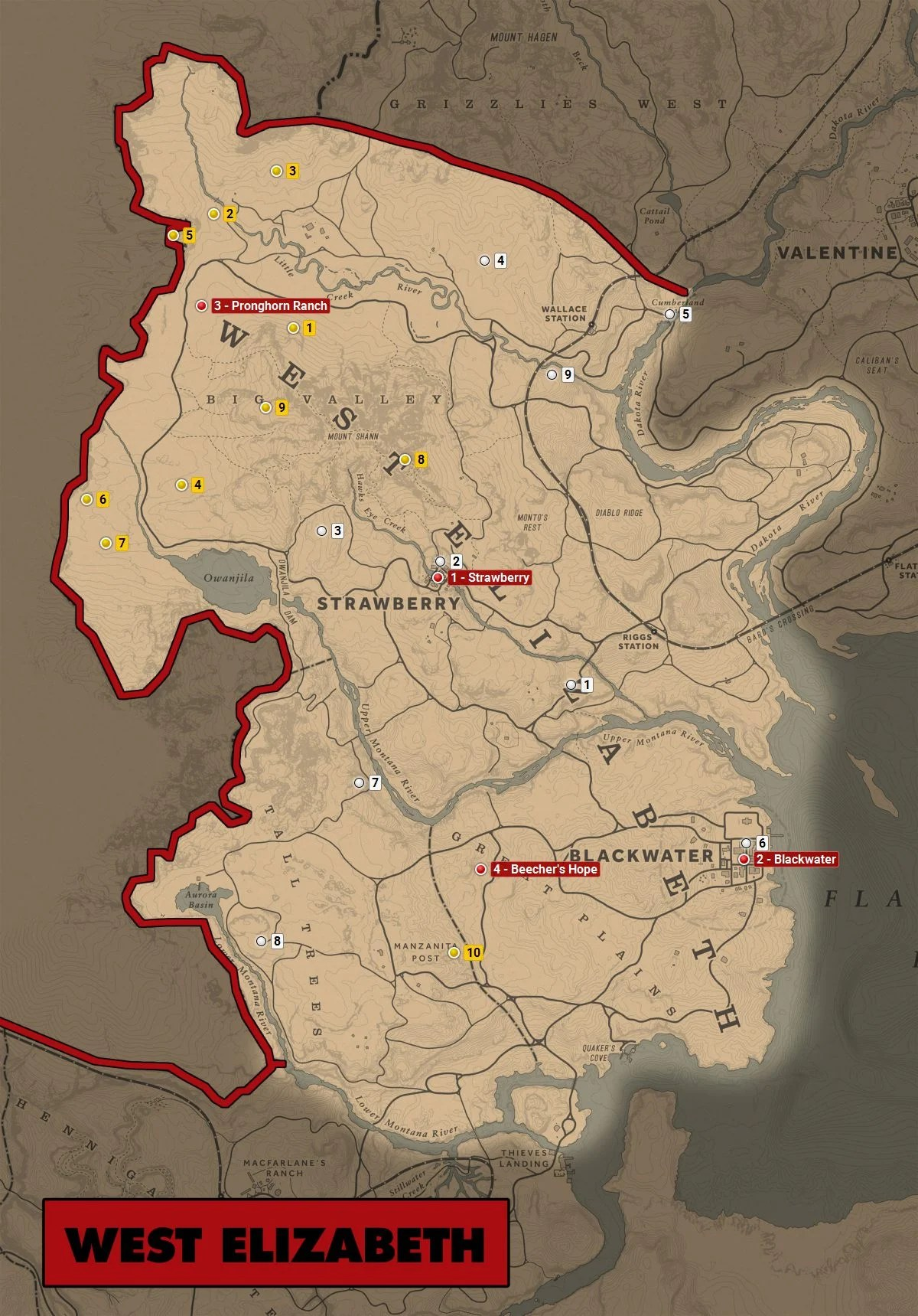 Rdr2 Trapper Locations Map : trapper, locations, Redemption, Elizabeth, World, Atlas, Guide, Gamepressure.com