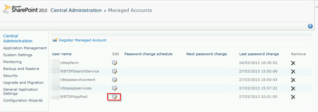 Change SharePoint 2010 Service Account Passwords