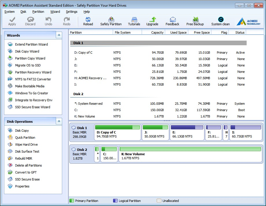 AOMEI Partition Assistant User Interface UX