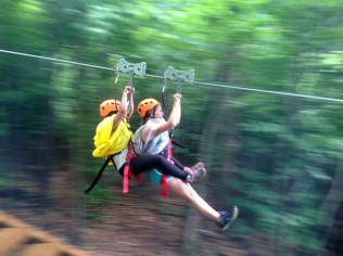 Pathfinders zipping down the zipline!