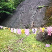 Tie-dyed tshirts hanging to dry.