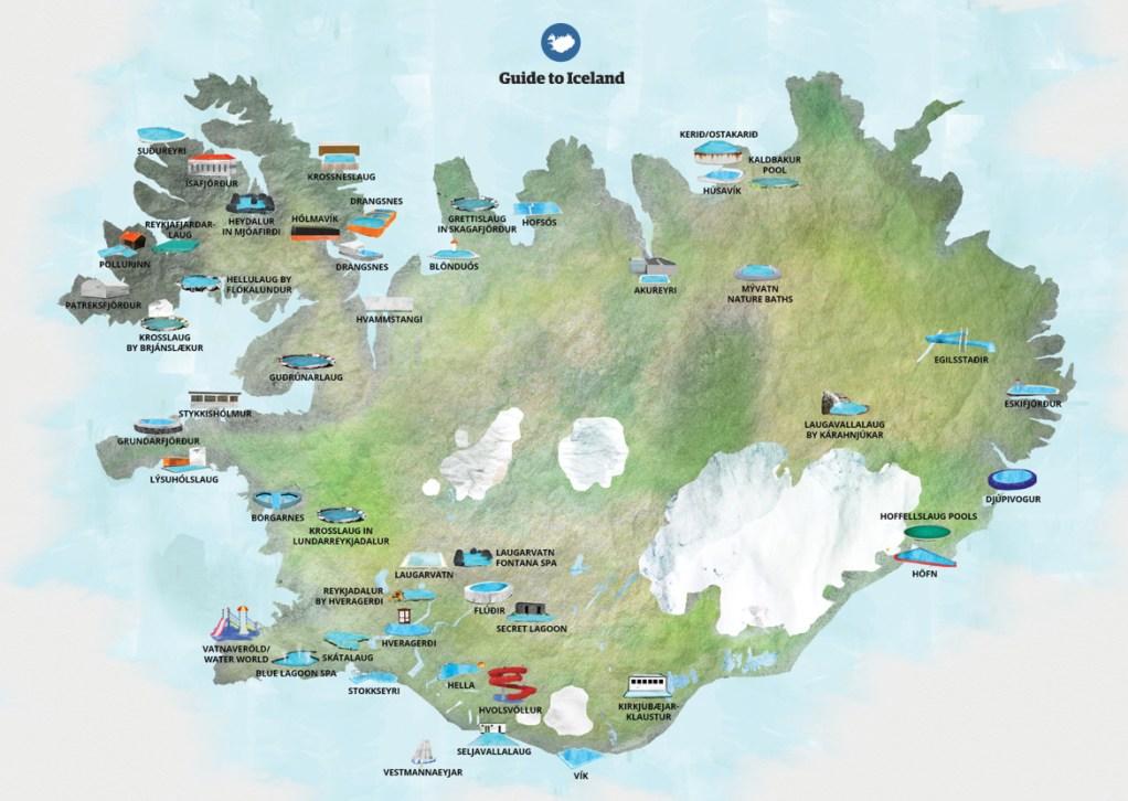 Mappa delle pozze geotermali e delle piscine in Islanda
