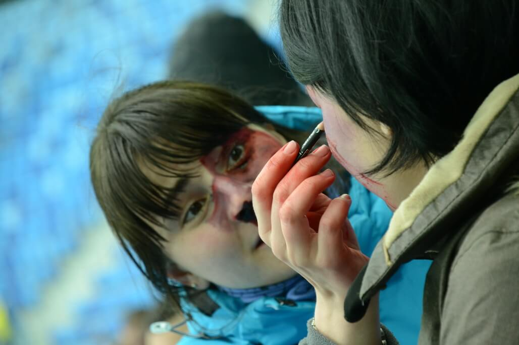 Many volunteers had face and body paint on to imitate injuries