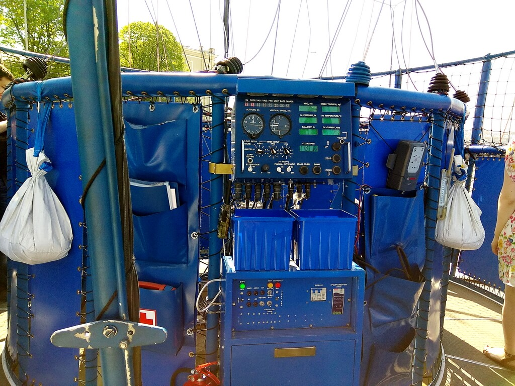 The control panel in the gondola of the balloon