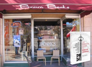 Main Street Bookstore in Cedar City along with an image of Paul H. Smith's book The Essential Guide to Remote Viewing
