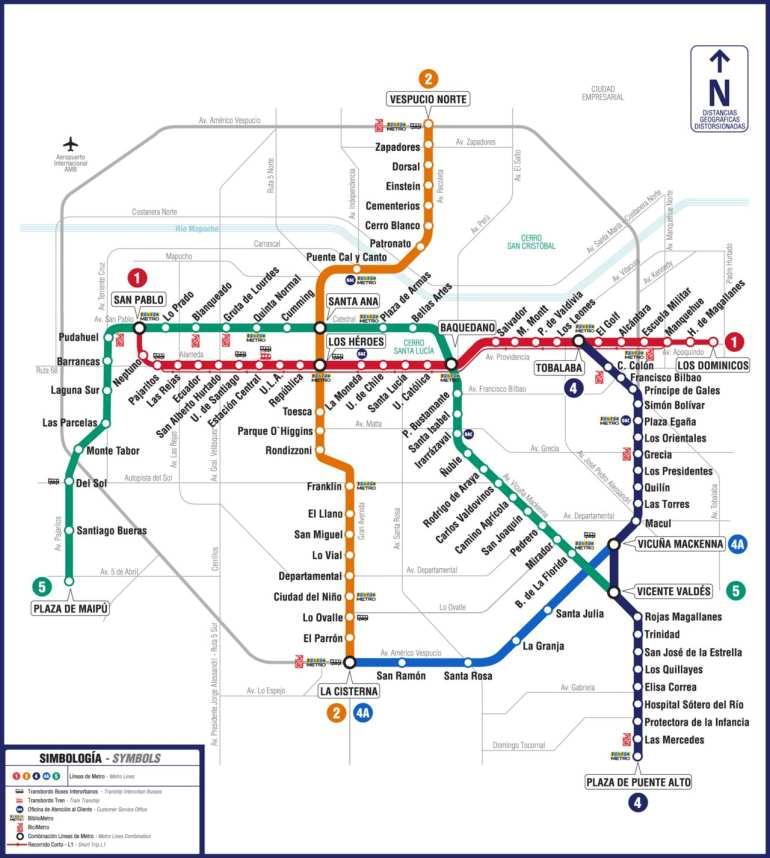 Santiago Metro map