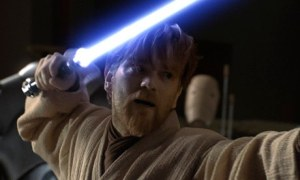 Ewan McGregor with a lightsaber in Star Wars: Episode III Revenge of the Sith