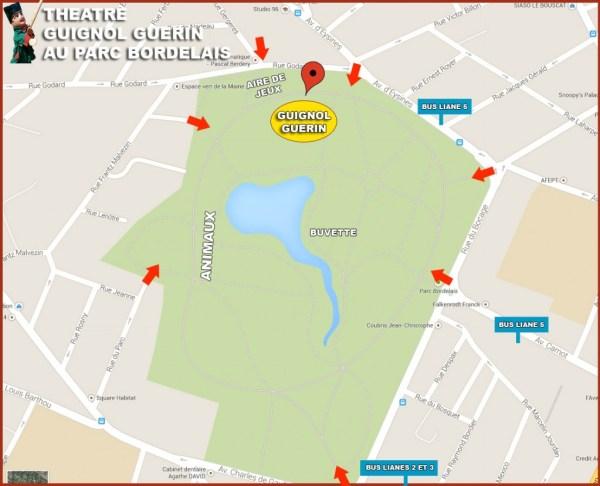 Plan de localisation du Guignol Guérin au parc bordelais