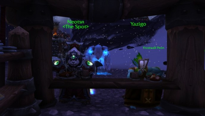 I sit alone with my NPC friend, Yazigo.