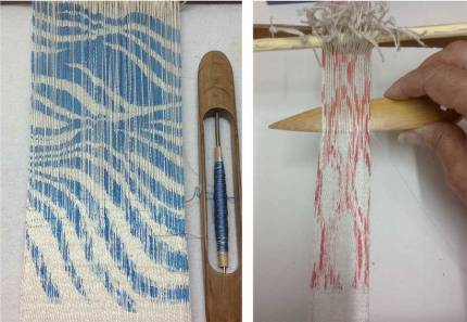Frame weave with blue reactive dye paste on ne silk yarn with a linen heddle