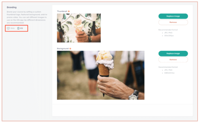 The branding interface to add images to the mobile app.