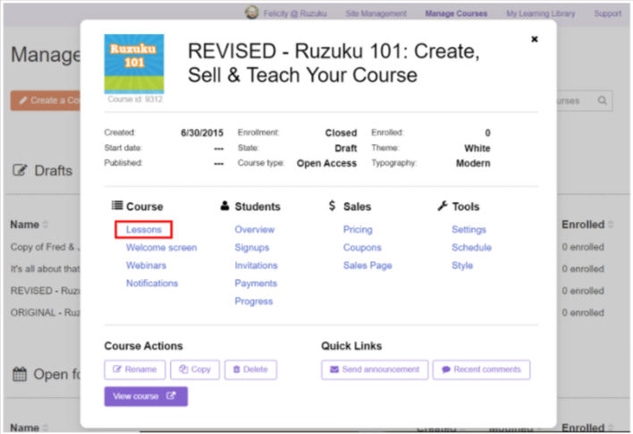 Sample course with the lessons option.