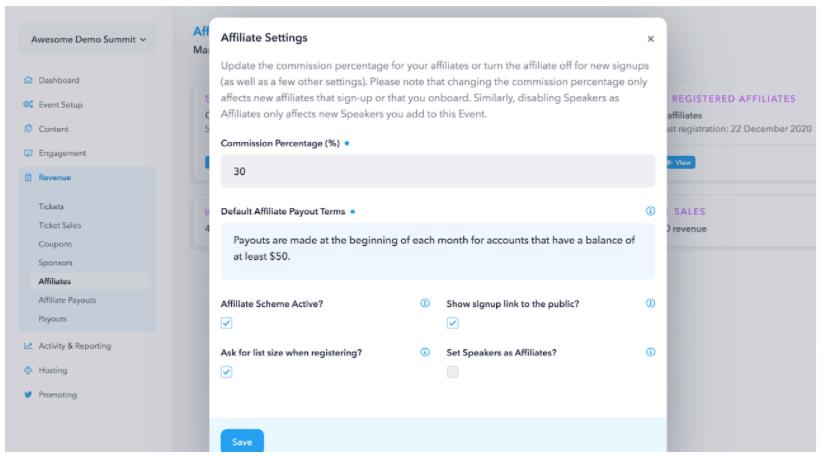 The HeySummit Affiliate program settings interface.