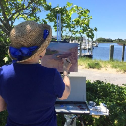 Chris Banks painting en plein air at Saquatucket Harbor
