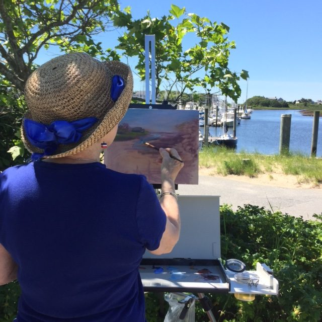 Chris Banks painting en plein air at Saqutucket Harbor
