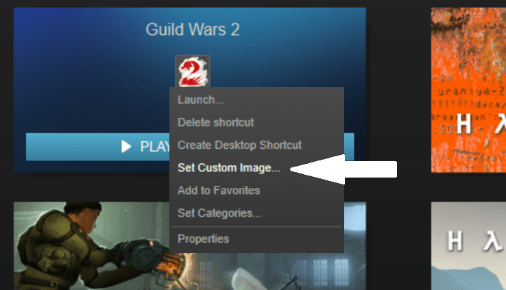 Right click and select set custom image