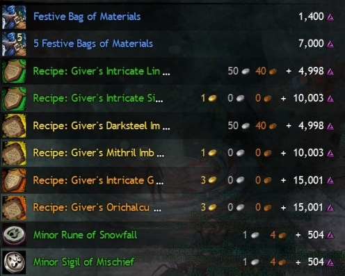Wintersday Vendor Crafting