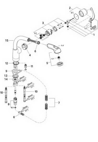Grohe Faucet Parts Diagram : grohe, faucet, parts, diagram, Grohe, 33737, Ladylux, Parts, Catalog