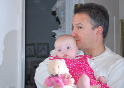 Poppy and I... admiring Guillianna and GuillliannaBear in the mirror...