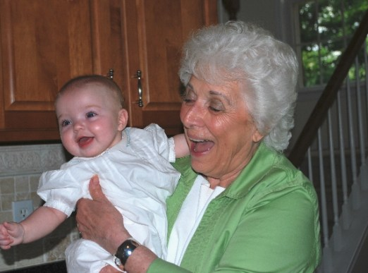 I am making Great Grandma Sally laugh!