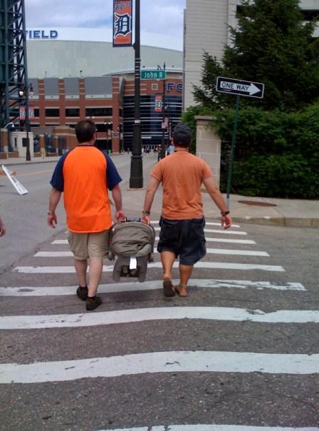 Strolling - without a stroller... instead a human swing!  Weeeeeeeeee....