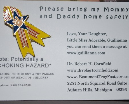 Bring my Mommy and Daddy home safely!