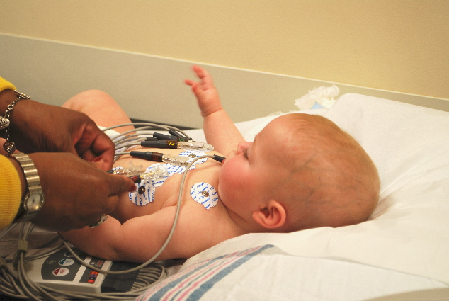 Getting hooked up.... and no tears....such a good baby!