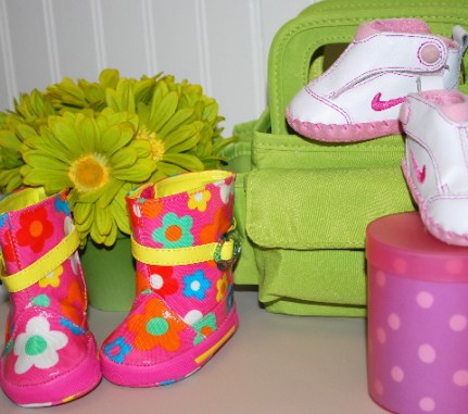 My first Nike shoes, my first rain boots... too small, but now adorn the room!