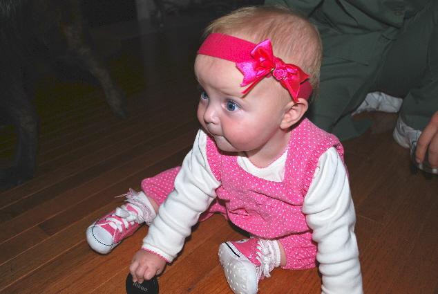 Hey .... maybe I don't like crawling on Nana's hard floor!