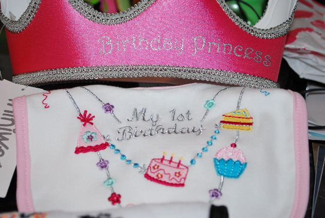 A Princess Crown, and special birthday bib!  Which I plan on using while I devour my cake!