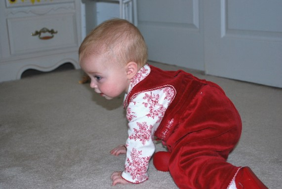 This is me, getting into princess crawl position....