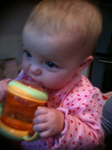 My first drink from a big girl sippy cup!