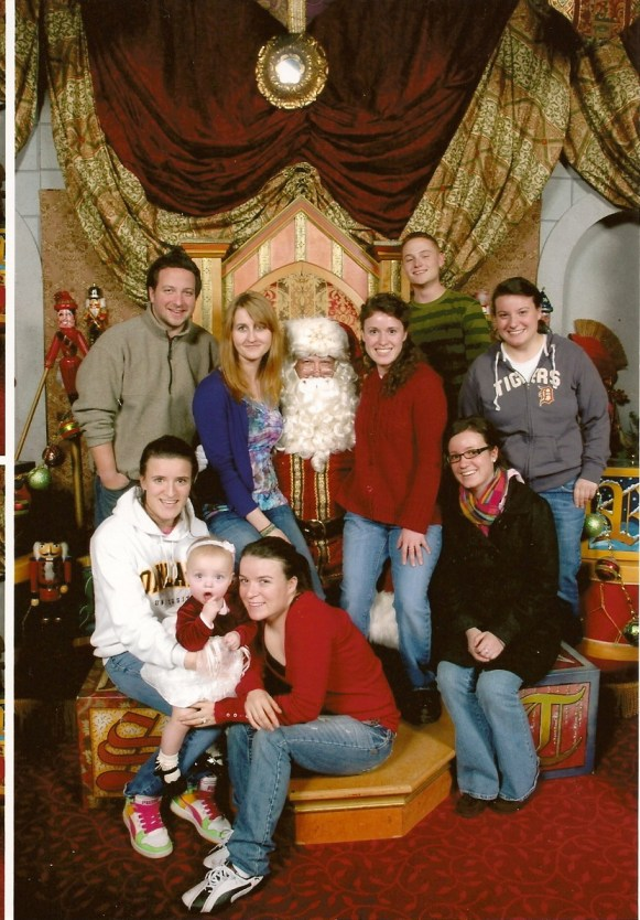 Santa and the campers with Mom and Dad