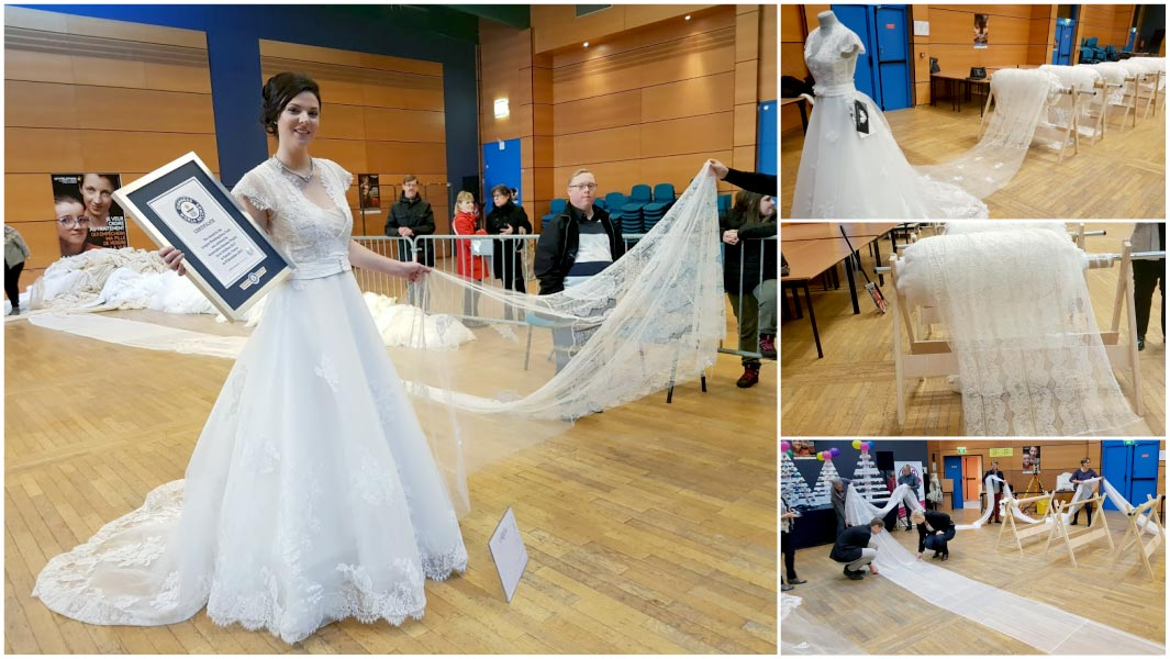 World's Longest Wedding Dress Train Could Almost Cover
