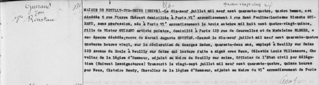 Acte de décès de Lucienne Blanche Guirand