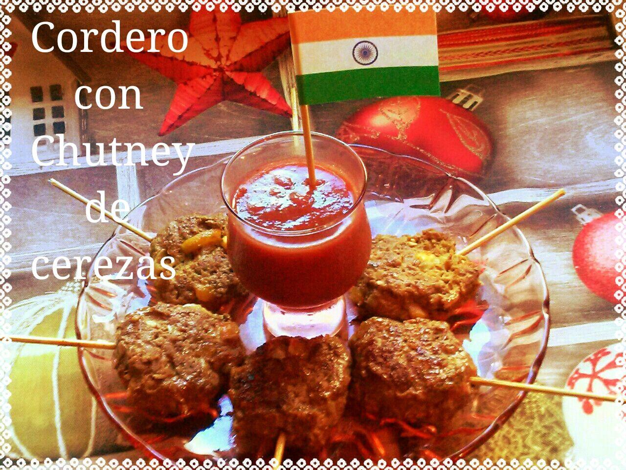 Paletilla de cordero con Chutney de cerezas y chile, India. (Cena de Navidad Worldwide)