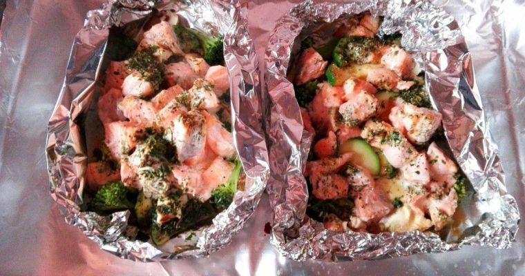 Papillote de salmón y verduras. [Omega 3 y antioxidantes]