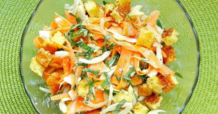 Ensalada de hinojo y zanahoria con salsa de kéfir