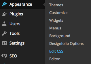 """A screenshot of the WordPress dashboard showing the """"Edit CSS"""" feature"""