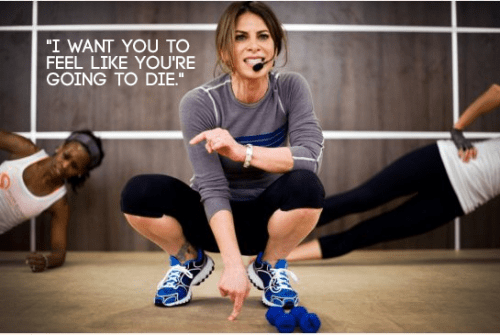 "A photo of Jillian Michaels with the caption: ""I want you to feel like you're going to die."""
