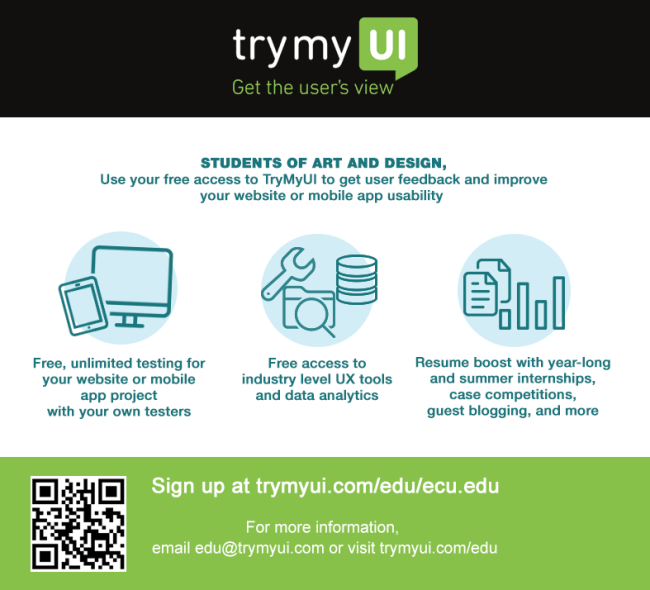 "A flyer for the TryMyUI EDU program, published as part of ""A Free UX Curriculum and Remote Usability Tool: The TryMyUI EDU Program"""