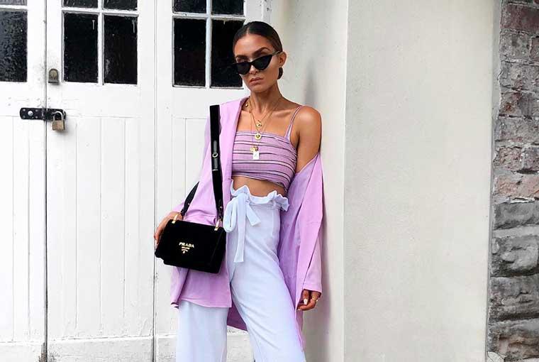 Look lilás com branco